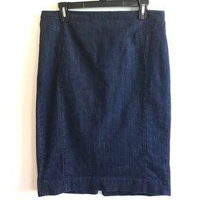 WHBM blue denim skirt midi length 10